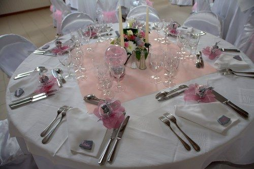 Mariage en rose gris et argent d co de table pink for Deco table blanc et gris