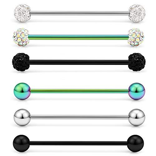 6-12 Pieces 28mm Lcolyoli Short Industrial Barbell 16G Stainless Steel Helix Cartilage Earring Externally Threaded Crystal Ball Body Piercing Jewelry for Women Men 1 1//8 Inch