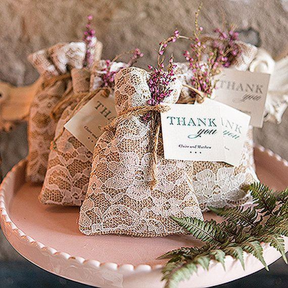 Vintage Style Drawstring Wedding Favour Bag by vintagebellewedding