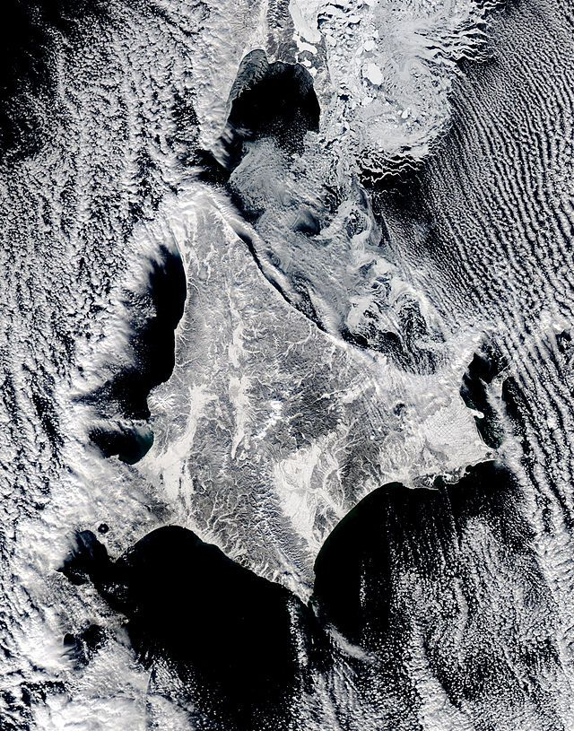 Satellite image of Hokkaido, Japan in January 2003 - Hokkaido - Wikipedia, the free encyclopedia