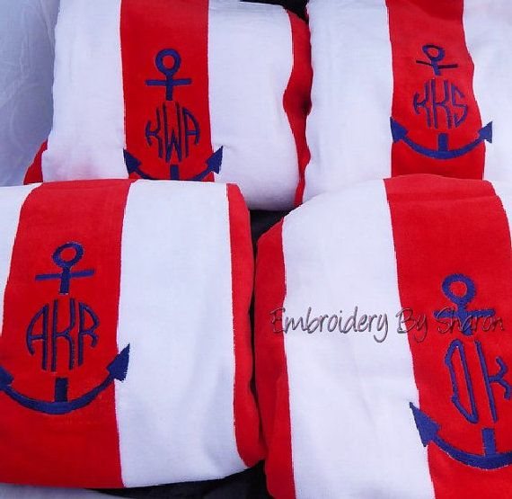 Monogrammed Beach towels-  Cabana Personalized  In the finest Velour Towel - Anchor Beach Towels or Any design or Monogram