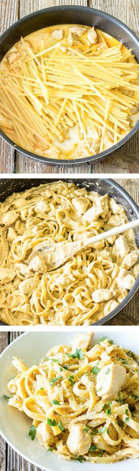 One Pot Wonder Cajun Chicken Alfredo. Creamy and delicious! #OnePotPasta