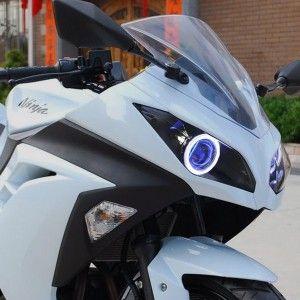 Kawasaki Ninja 250 300 HID LED Angel eye HID Projector Headlight Assembly 2013-2015