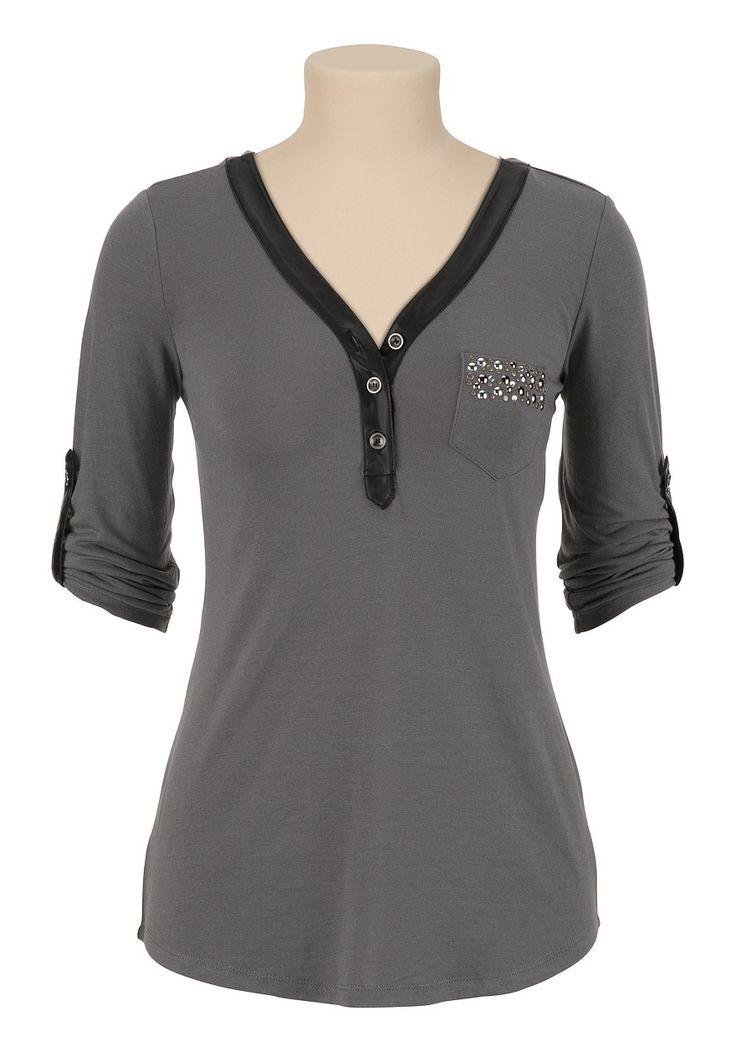 Embellished Pocket Henley Top - maurices.com