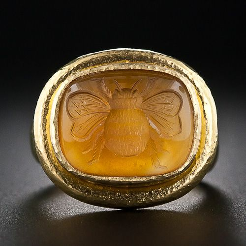 Citrine Intaglio Bee Ring by Elizabeth Locke