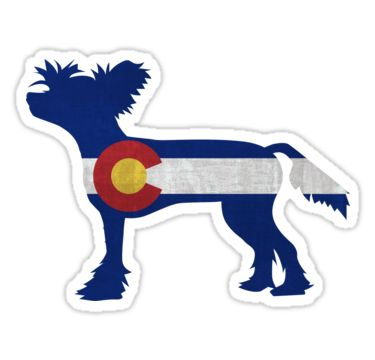 Chinese crested dog colorado flag stickers by tripoddogdesign redbubble