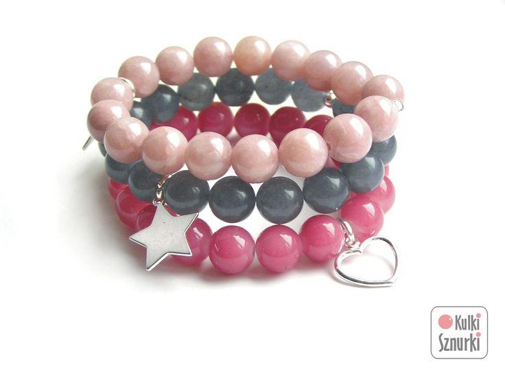 Kulki Sznurki - luksusowa biżuteria handmade z możliwością personalizowania.  www.facebook.com/...  bransoletki z zawieszkami  zestaw na dzień kobiet, na walentynki, na  święta. Pomysły na prezent #jade #grey #pink #lightpink  #kulkisznurki #walentynki #bransoletki #zawieszki #prezenty #bracelets #valentinesday #stretchbracelets #dzienkobiet #heart #silver #star #gwiazdka #naszczescie #lightpink #serce