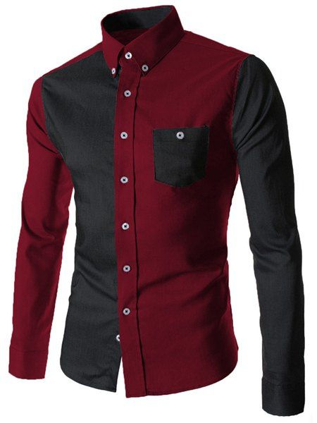 Color Block Spliced Turn-Down Collar Long Sleeve Pocket Button-Down Shirt For Men