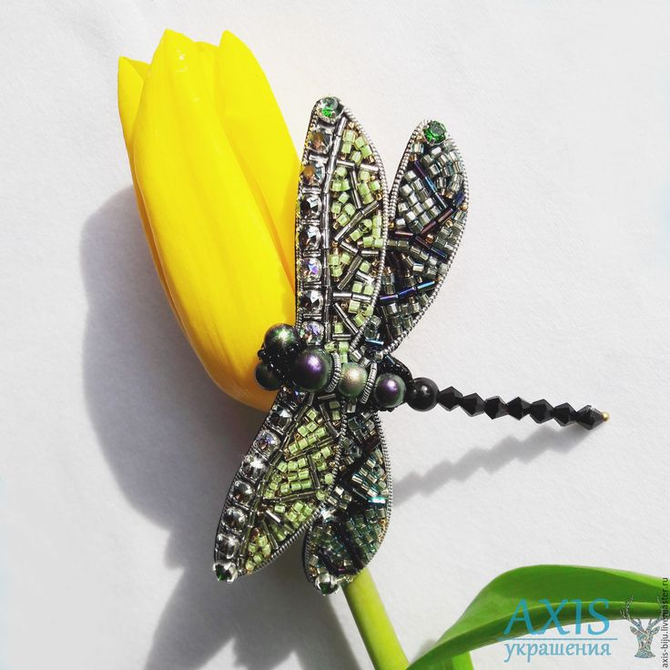 Купить Брошь Стрекоза - зеленый, стрекоза, брошь стрекоза, брошь из бисера, брошь из кристаллов