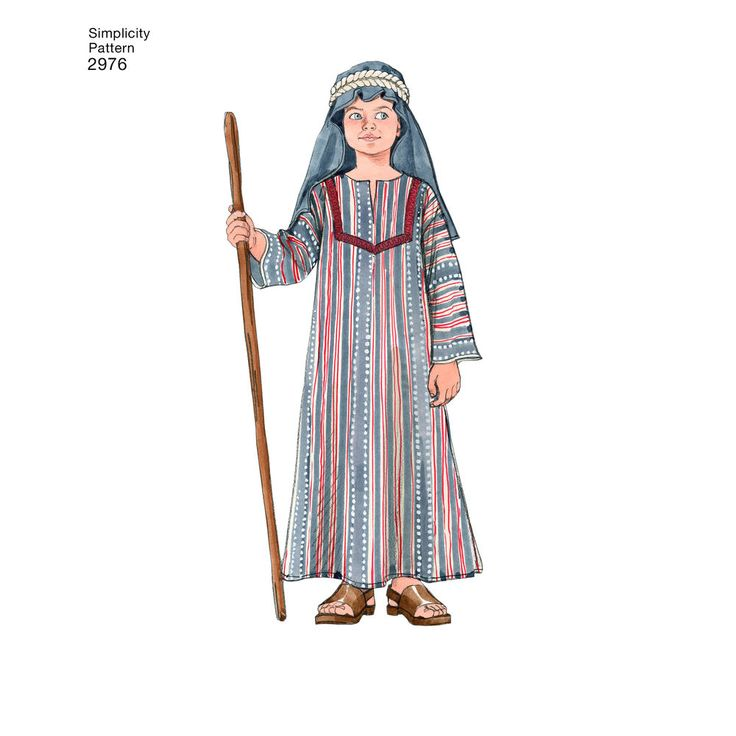 Boys' & Girls' Easter costumes for apostles, Mary, and a soldier include a tunic, toga, wrap, coat, belt, veil, helmet, and armor. Simplicity sewing pattern.