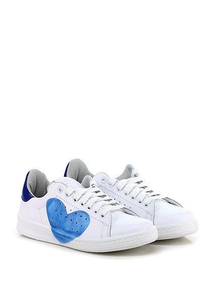 Stella Rittwagen - Sneakers - Donna - Sneaker in pelle con stampa laterale e suola in gomma. Tacco 30, platform 20 con battuta 10. - BIANCO\BLU - € 119.00