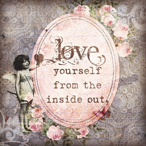 Love from the Inside Out - 8x8 Inspirational Art Print - quote love victorian pink and brown cupid heart damask vintage. $22.00, via Etsy.