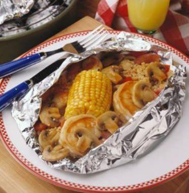 Caribbean Shrimp & Mushroom Packets
