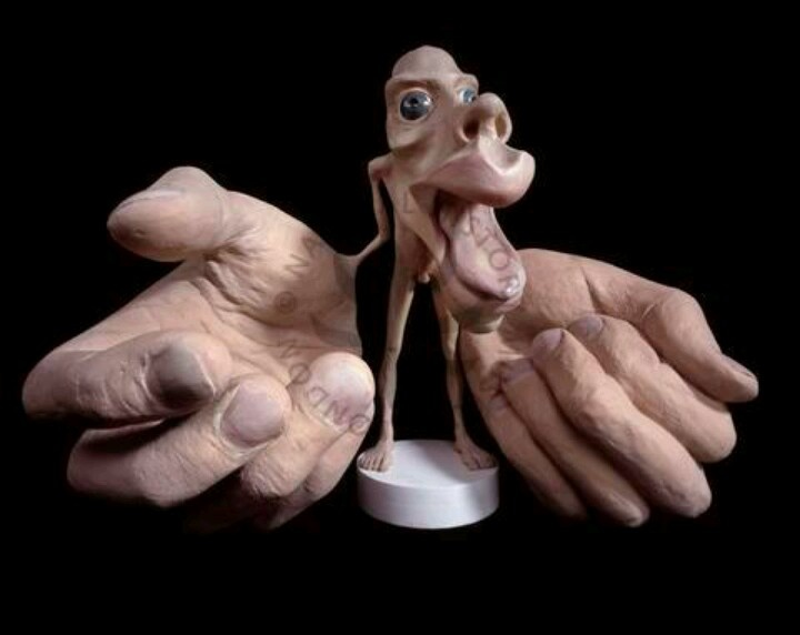 "This is called ""Homunculus"" which is a Latin word when translated means ""Small man"". There are two models namely ""sensory homunculus"" and ""motor homunculus"" which describes how the human body would look like if each part of the body grew in proportion to the area of the cortex of brain concerned with motor(movement) and sensory regions represented.    This is a model of a motor homunculus"