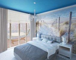 Średnia sypialnia małżeńska z balkonem / tarasem, styl skandynawski - zdjęcie od KOLORUM