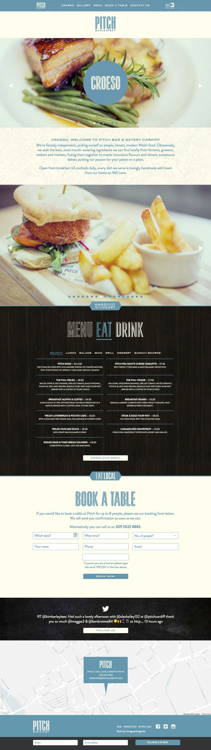Responsive One Pager featuring big image slideshows for 'Pitch Bar & Eatery' - a new restaurant and cocktail bar in Cardiff.