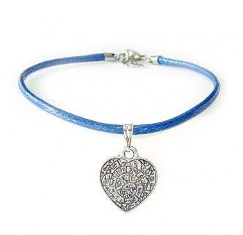 """Bransoletka niebieska damska """"być razem"""" - z woskowanego sznurka w niebieskim kolorze, z zawieszką w kształcie serca. Prezent dla zakochanych."""