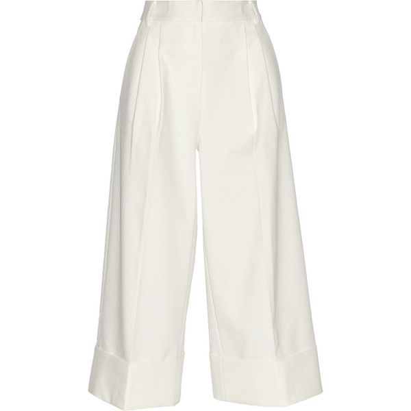 Tibi Cropped stretch cotton-blend twill wide-leg pants ($415) ❤ liked on Polyvore featuring pants, capris, white, wide leg pants, white pants, white wide leg pants, pleated pants and stretchy pants