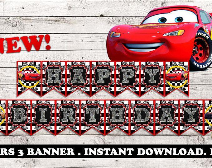 Boys Girls Birthday Party Disney Cars Themed /'Happy Birthday/' Letters Banner