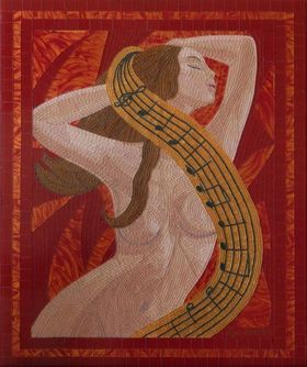 Passion for Music - Original, unique, figurative glass mosaic nude musical mood by Liza Wheeler