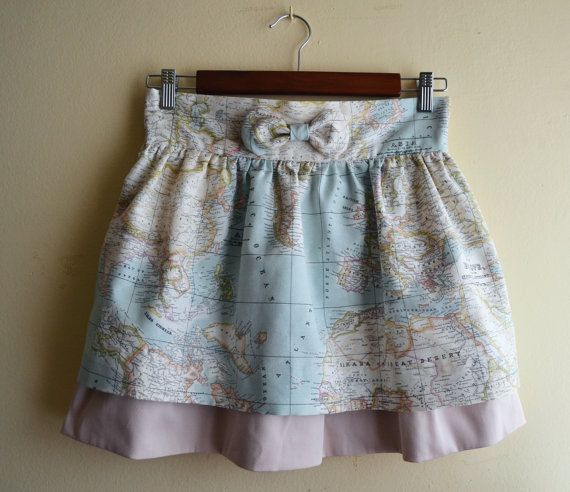 Tailored skirt Bon Voyage. World map fabric. MADE TO by pupettas, €42.00