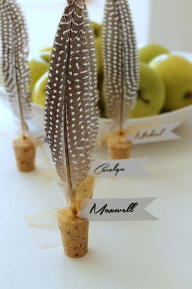 Lovely cork & feather place cards for the Thanksgiving table