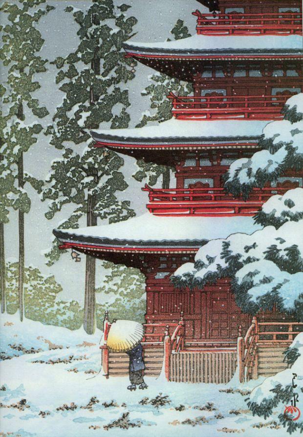 Hasui, Saishoin Temple in Snow, 1936