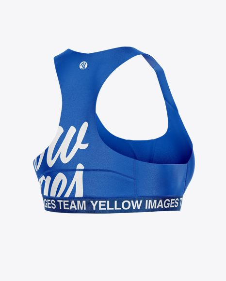 Sports Bra Mockup – Half Side View. Present your design on this mockup. Simple t…