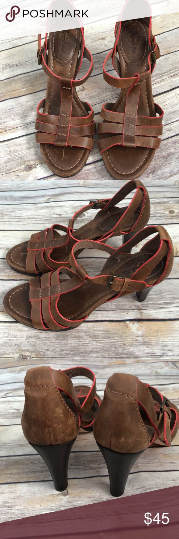 Boden brown leather open toe heels size 39 Gorgeous boden leather shoes brown with orangey red trim. 3.5 inch heel. Size 39. In great condition! Boden Shoes Heels