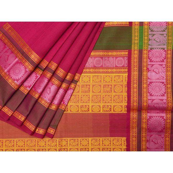 Pink Kanchipuram Silk Handloom Saree with Border Design k0176