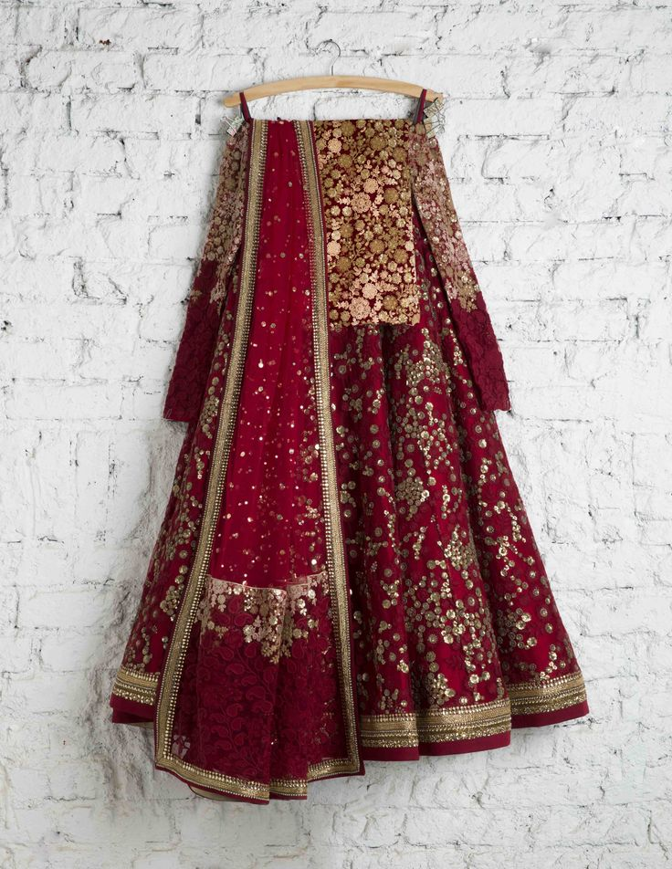 SwatiManish Lehengas | SMF LEH 108 17 | Regal maroon lehenga with full sleeved blouse