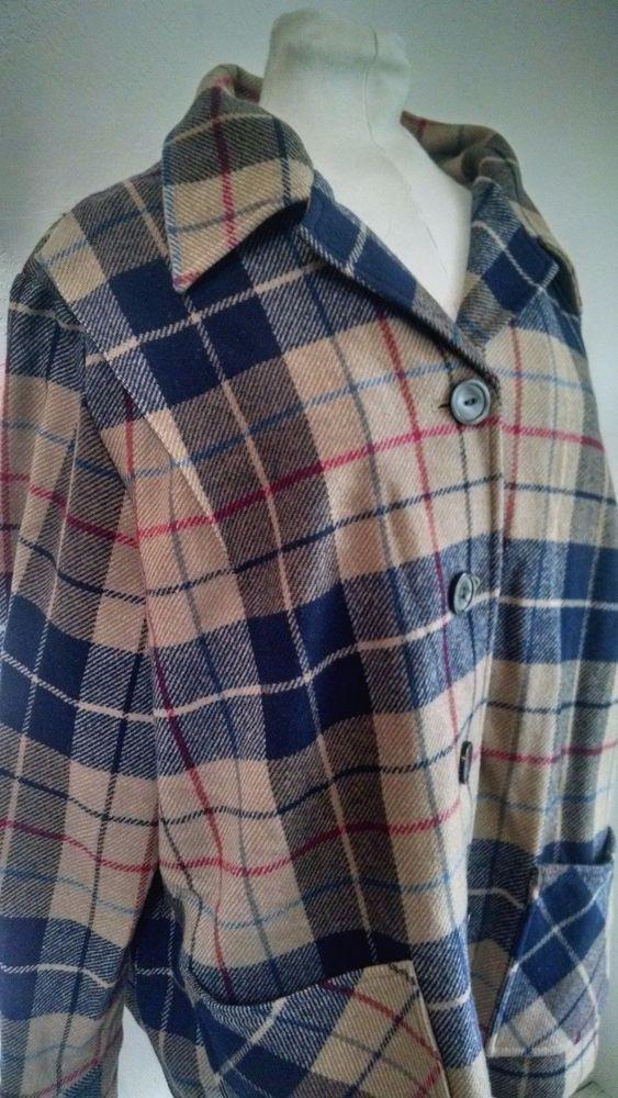 Vtg Pendleton Wool Womens 49ers Jacket 2X Brown Navy Blue Plaid Pockets #Pendleton #Jacket