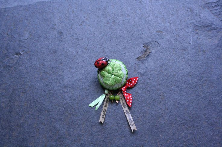 Ladybug on a Clover Leaf Pin Brooch - Lucky Charm - Keepsake - Daily MicroEmbroidery Challenge ''Ladybugs&Clovers'' Series by BlackCatCreativeStd on Etsy https://www.etsy.com/listing/167142623/ladybug-on-a-clover-leaf-pin-brooch