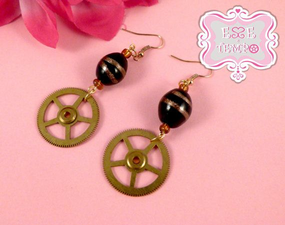Steampunk earrings made with brass clock wheels by EsseeTempo