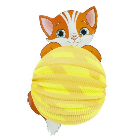Lampion kat 22 cm. Papieren bollampion in katten uitvoering. De lampion is niet brandvertragend.