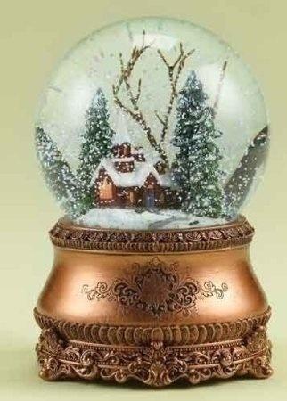 "Amazon.com: 6"" Musical Vintage-Style Church Christmas Snow Globe Glitterdome: Home & Kitchen"