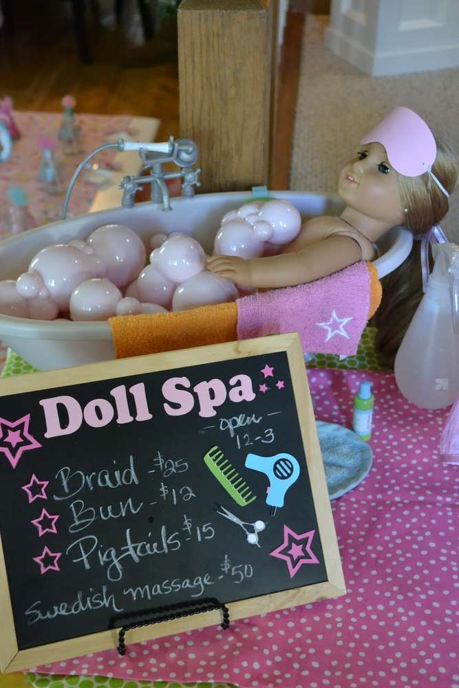 American Girl spa girl birthday party decorations! See more party ideas at http://CatchMyParty.com!