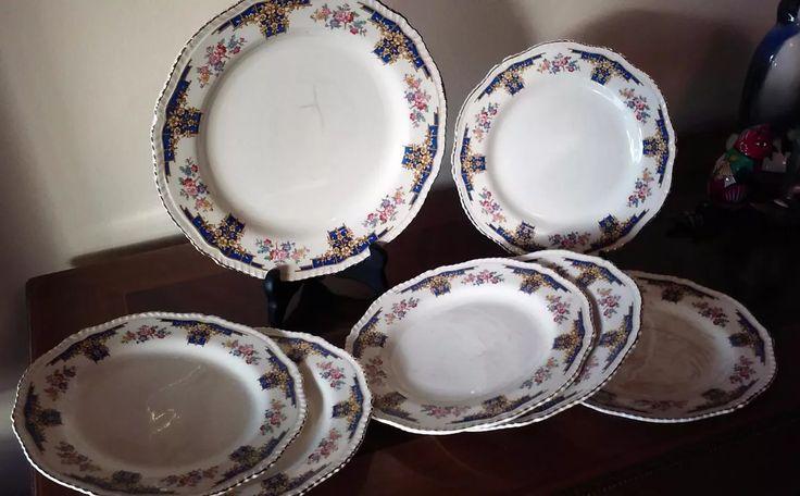 platos antiguos porcelana woods ivory ware floral -7 piezas