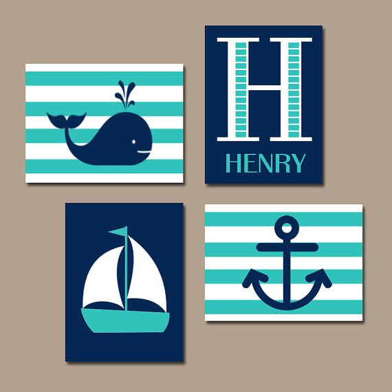 ★Hamptons WHALE Nursery Wall Art Canvas or Print Sailboat Anchor Baby Boy Nursery Wall Art Nautical Nursery Boys Bedroom Set of 4 Crib Decor  ★Includes
