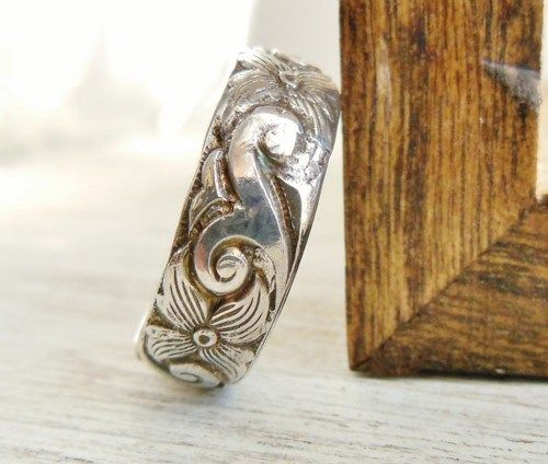Scroll Pattern Ring Sterling Silver Band Wide Floral Design | WestWindCreations - Jewelry on ArtFire
