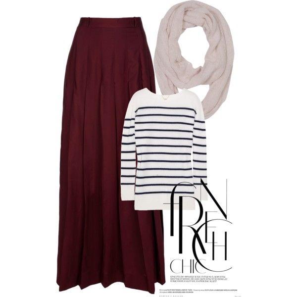 Burgundy skirt and stripes