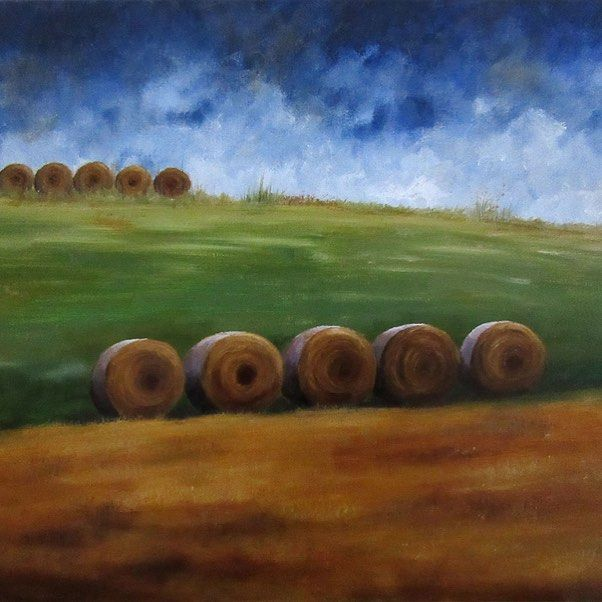 "Minimalistic landscape with hay bales ""In A Row"" ** for sale **"