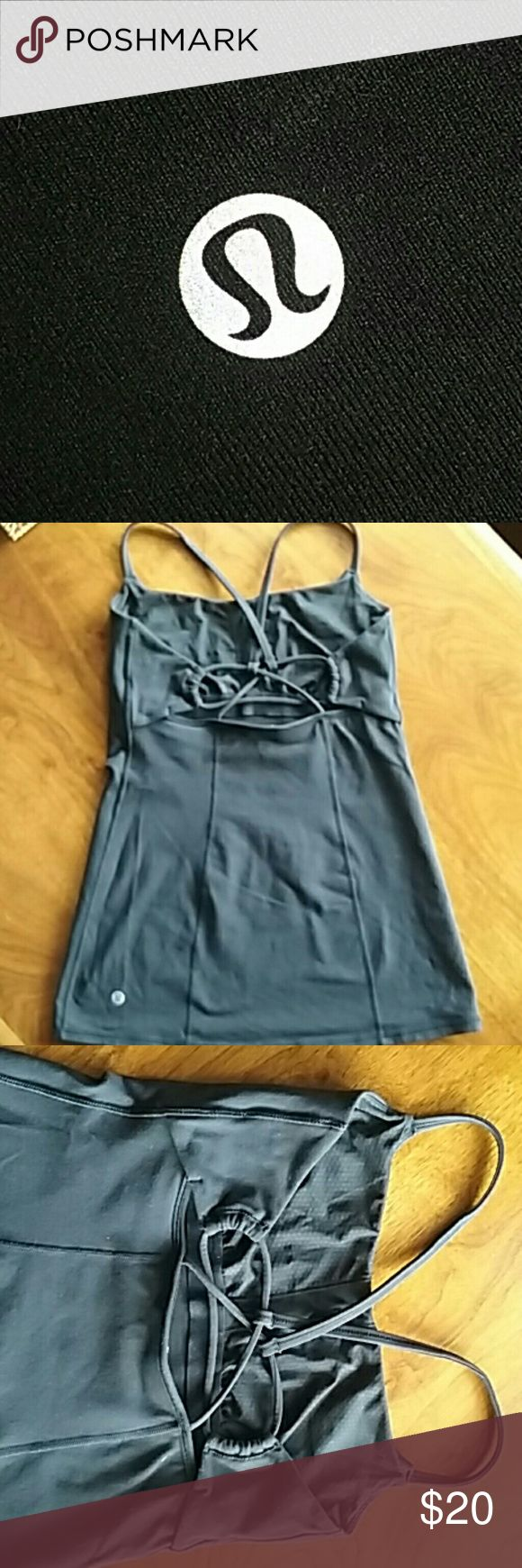 LULULEMON BLACK TOP Lululemon black spaghetti-strap top. Cute crisscross back, measures 19 inches from front neckline to hem. No bra cups. Great condition. Bundle discount. LULULEMON Tops Tank Tops