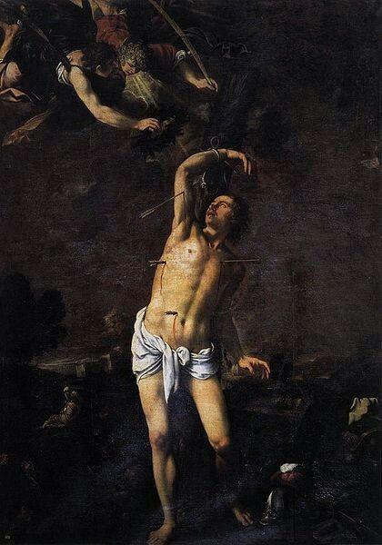 Pedro Orrente(1588–1645)La obra representa el martirio deSan Sebastián, que murió asaeteado por profesar el cristianismo.  Datecirca 1616Mediumoil on canvasDimensionsHeight: 306 cm (120.5 in). Width: 219 cm (86.2 in).Current location  Valencia Cathedral