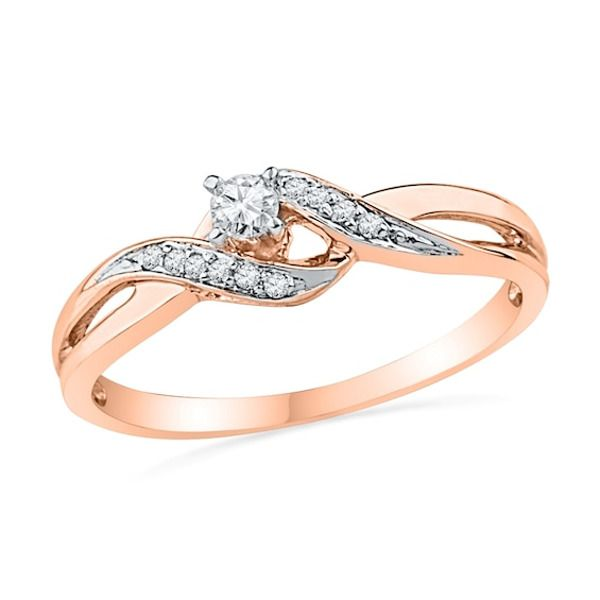 1 10 Ct T W Diamond Bypass Split Shank Promise Ring In 10k Rose Gold Vintage Engagement Rings Diamond Promise Rings Leaf Engagement Ring