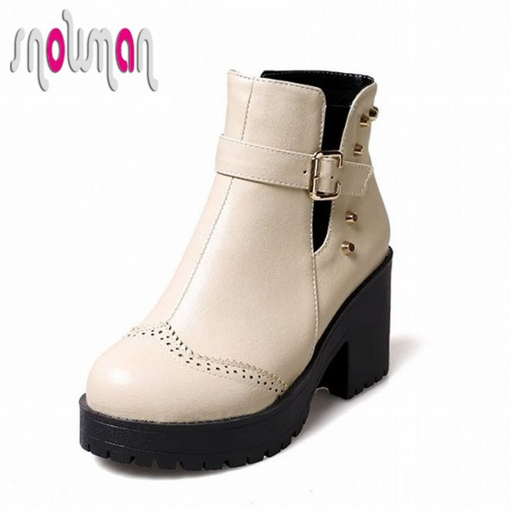 Fashion 2015 Square High Heels Platform Boots. Women Buckle Rivets Martin  Boots, Autumn Winter