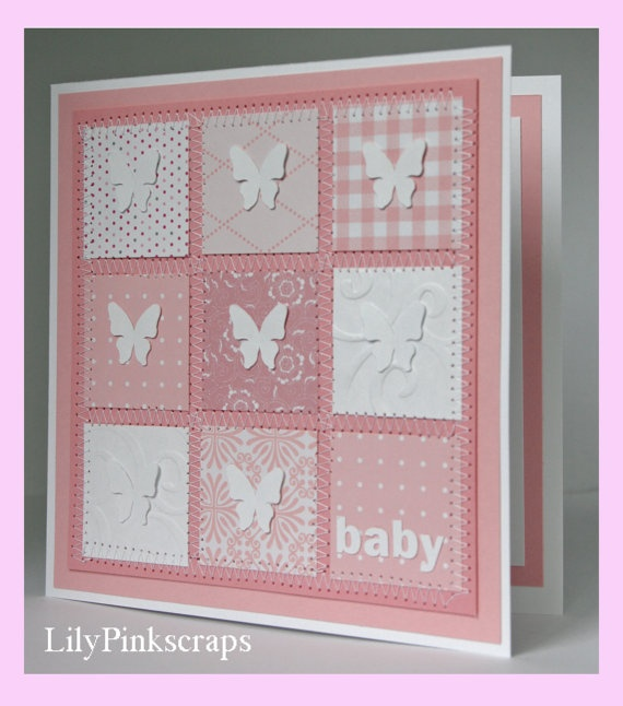 patchwork inspiration pinned from: Little girl baby patchwork card by LilyPinkscraps on Etsy