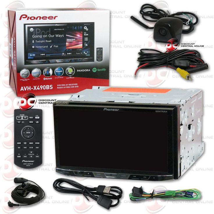 """2016 Pioneer 2DIN Double DIN 7"""" Touchscreen Car DVD MP3 CD Player with Bluetooth Spotify Pandora Support + Wireless Remote & DCO Keyhole Waterproof Backup Camera with Nightvision (Optional Color)"""