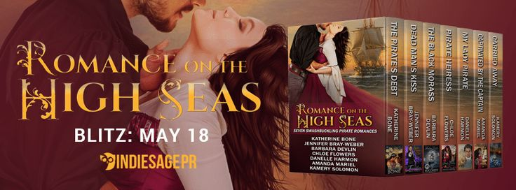 Romance on the High Seas  Seven Swashbuckling Pirate Romances by Katherine Bone Jennifer Bray-Weber Barbara Devlin Chloe Flowers Danelle Harmon Amanda Mariel Kamery Solomen Publication Date: May 18 2017  Purchase: Amazon | Barnes & Noble | Kobo | iBooks  PREPARE TO BE BOARDED.  Retail Value: $22.43  Seven best-selling authors of Pirate Romance take you on thrilling and epic high seas adventure with seven swashbuckling romances sure to satisfy the pirate lurking in your heart.  THE PIRATES…