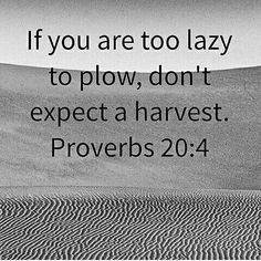 If you're too lazy to plow don't expect a harvest  Proverbs 20:4  Wis